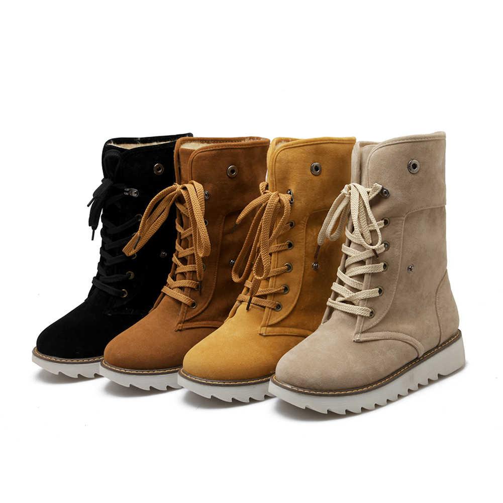 BONJOMARISA 2019 invierno antideslizante plataforma tobillo botas de nieve mujeres 34-43 cálido añadir botas de piel de encaje- zapatos cómodos para mujer