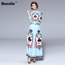 Banulin 2018 New Autumn Runway High Quality Print Long Shirt Dresses For Womens ladies Maxi Party dress Femme Vestidos robes