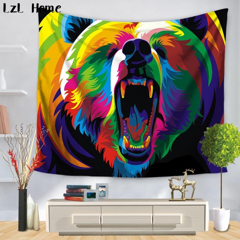 LzL Home New Indian Elephant Bear Tapestry Mandala Animales Wall Hanging Tapestry Beach Towel Bedspread Yoga Mat Dorm Home Decor