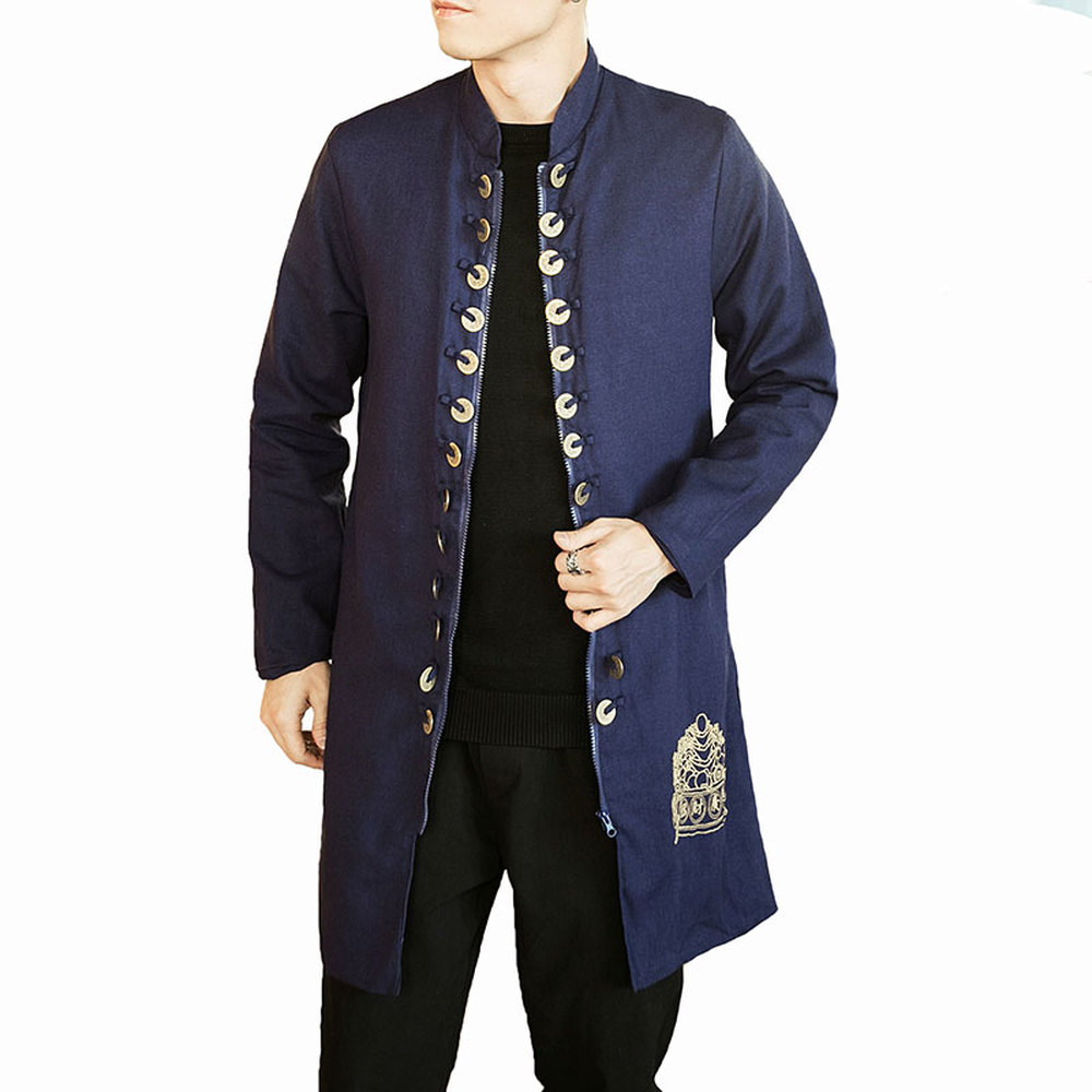 M-5XL Cotton Linend   Trench   Coats Men Long Sleeve Overcoats Button Up Embroidery Printed Jackets Male Chinese Style New Tops