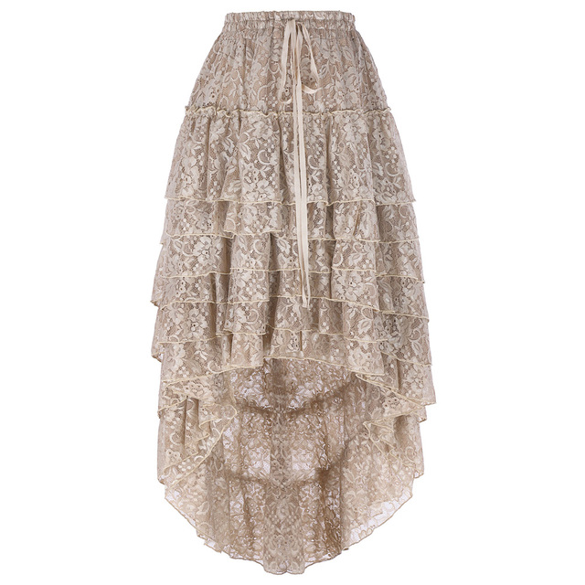 Women Skirt Polyester Solid Color Retro Lining Drawstring Waist Ruffled Amelia Gothic Steampunk Lace Cake Skirt Design New 1