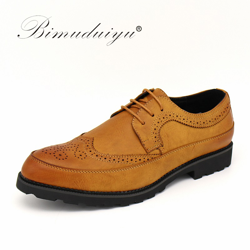 BIMUDUIYU Luxury Brand Formal Brogue Mens Office Party Dress Wedding Shoes Oxfords British Men Leather Shoes Rubber Sole 38-48 недорого