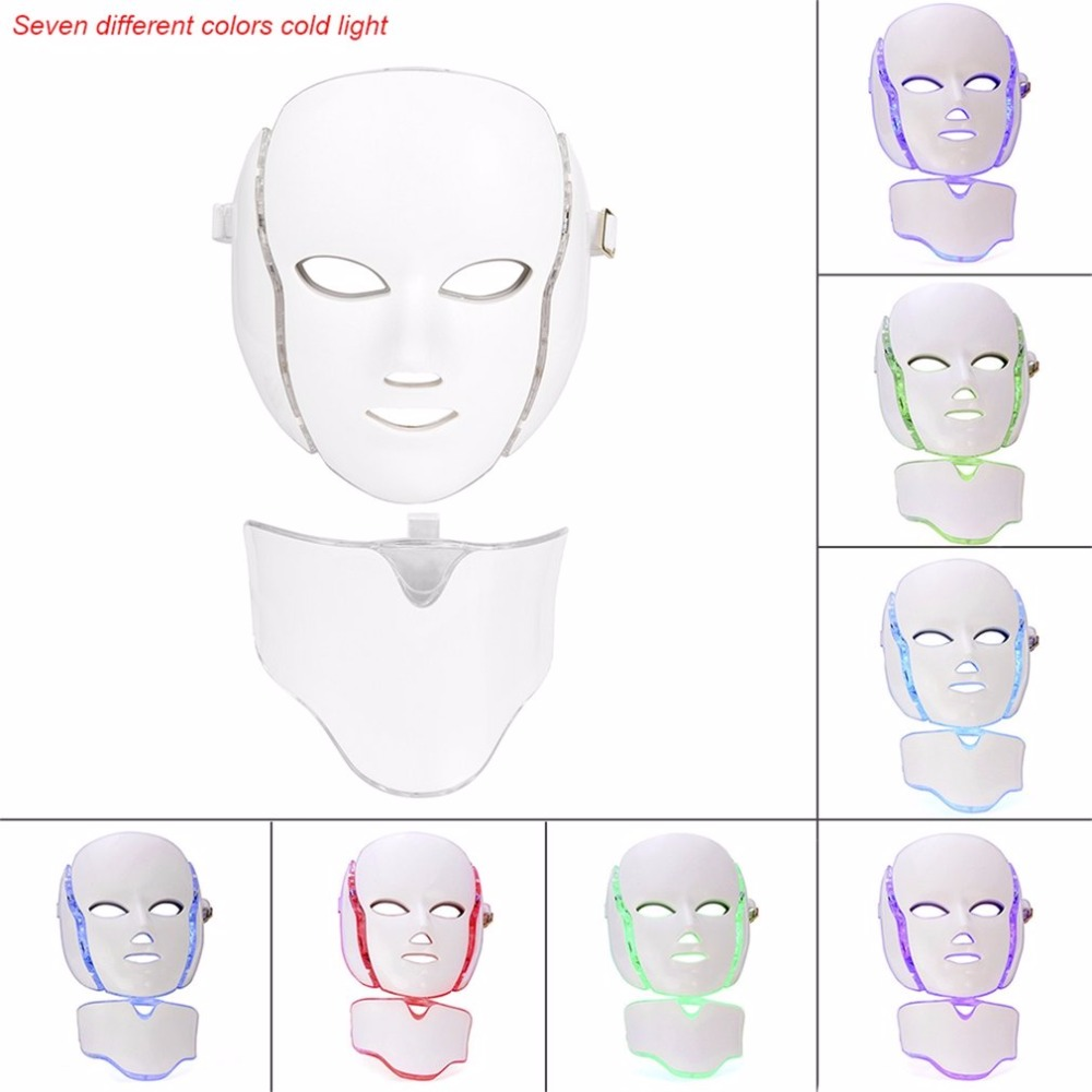7 Colors LED Light Microcurrent Facial Mask Machine Photon Therapy Skin Rejuvenation Facial Neck Mask Whitening Electric Device electric iontophoresis red led light photon therapy ems microcurrent face lifting skin tightening facial tonner beauty device