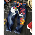 2-7yrs Boys Jeans New 2016 Baby Boys Girls Jeans Cartoon Cat and Mouse Brand Children Clothing Kids Jeans Children Casual Pants