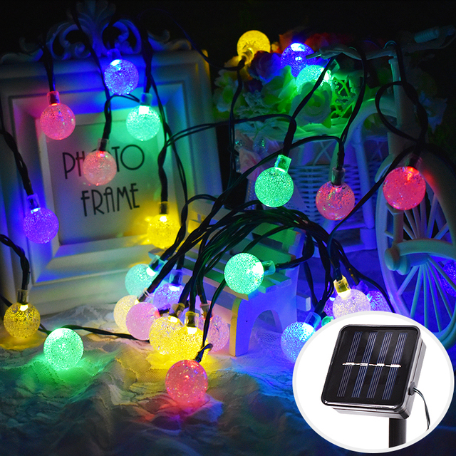 solar outdoor string lights 30 led colorful crystal ball solar globe fairy lights christmas tree fence