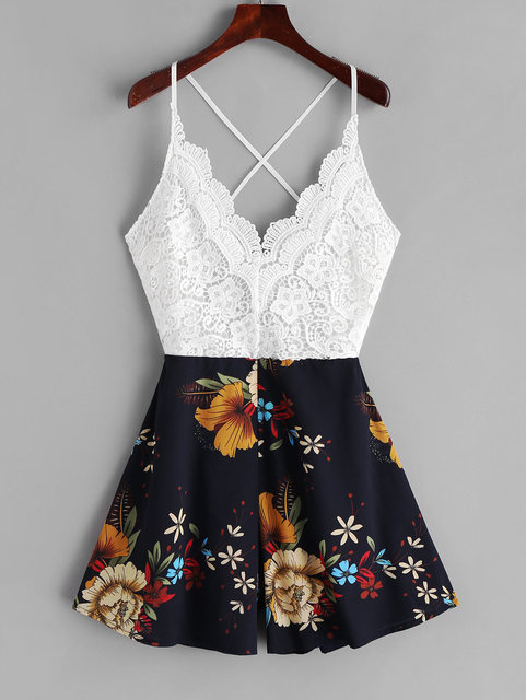 ZAFUL Playsuits Knotted Back Lace Panel Floral Cami Romper Sleeveless Criss-Cross Casual Women Sexy Spaghetti Strap Bodysuits 4