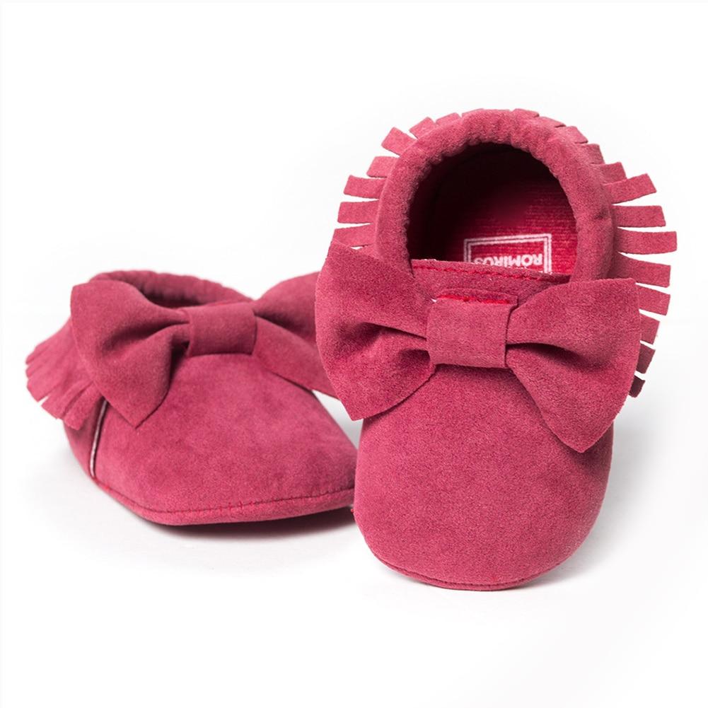 ROMIRUS Baby Soft Tassel Girls Bow Moccs Soft sole Infants Girl shoes Tassel Shoes Dark pink 12cm