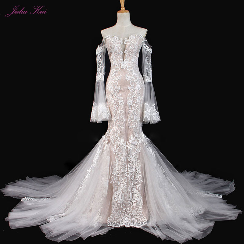 Elegant Silky Tulle Long Flare Sleeves Mermaid Wedding Dresses Heavily Embroidery Appliques With Button Sweetheart Bridal Gown