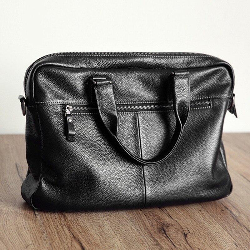 2019 nuevo maletín de piel de vaca Natural 100% de cuero genuino para hombre bolso de negocios de gran capacidad de moda bolso de hombro negro para portátil Masculino - 4