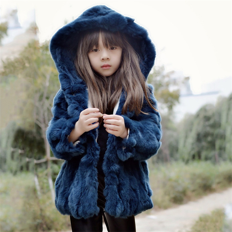 2017 Children Genuine Rabbit Fur Coat Outwear Kids Girls Winter Solid Color Natural 100% Rex Rabbit Fur Coat Jacket for Girls ywmqfur handmade women s fashion natural knitted rex rabbit fur hats female genuine winter fur caps lady headgear beanies h15