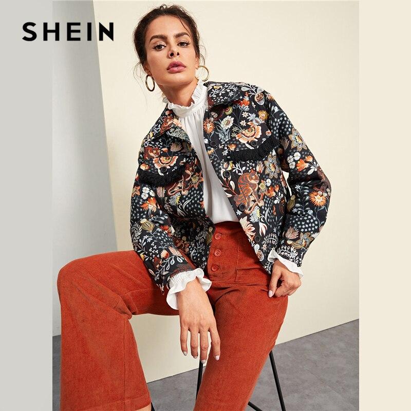 Шеин Многоцветный элегантный Highstreet карман и один на пуговицах с принтом с животными куртка осень Для женщин Уличная Куртки