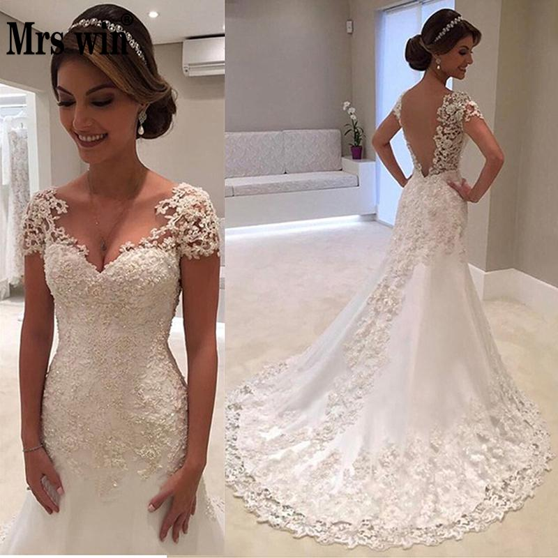 Sexy Vestido De Noiva White Backless Lace Mermaid Wedding Dress 2019 Short Sleeve China Bridal Gowns