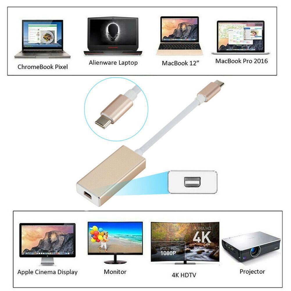 CUJMH Teyp C to Mini DP 4K 60Hz USB 3 1 Type C to Mini Display Port Adapter  Thunderbolt 3 to Mini DP Converter for MacBook Pro