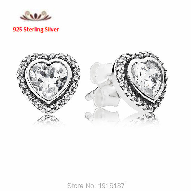 2015 New Mother's Day Heart Stud Earrings With CZ 925 Sterling Silver Denmark JEWELRY For Women Brand Earrings   FLE031