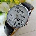 Relojes baratos Para Las Mujeres Vogue llego Tarde de Todos Modos Letras Imprimir Reloj de cuarzo de Los Hombres Vestido Reloj Hora Relogio Feminino Montre reloj # N