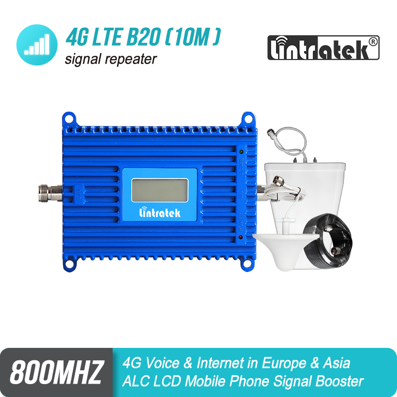 Lintratek LCD Display 4G Signal Booster LTE Band 20 Mobile Phone Signal Repeater LTE 800mhz Cell Phone Amplifier 4G Set #42