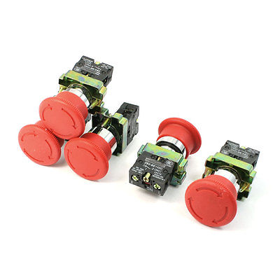 5 Pcs N/C SPST Latching Action Emergency Stop Push Button Switch 10A 600V [vk] 1241 3257 switch push spst no 100ma 42v switch