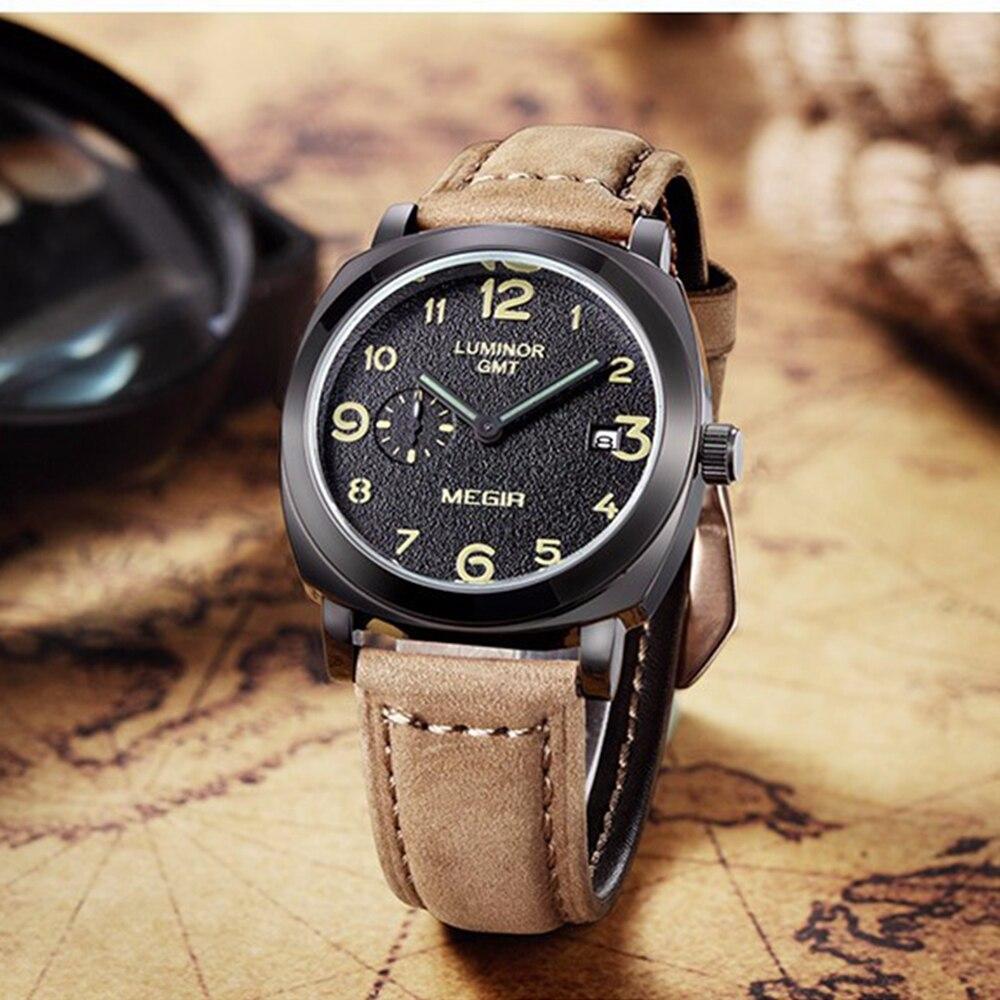 Megir Top Brand Watch Luxury For men Watches Men Quartz Watch Retro Leather Strap Black Watch Male Sport Wristwatch reloj hombre все цены