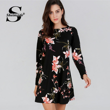 Sheinside Flower Print Black Tunic Dress Women OL Work Short Straight Ladies Dresses 2019 Long Sleeve Casual Floral Mini Dress