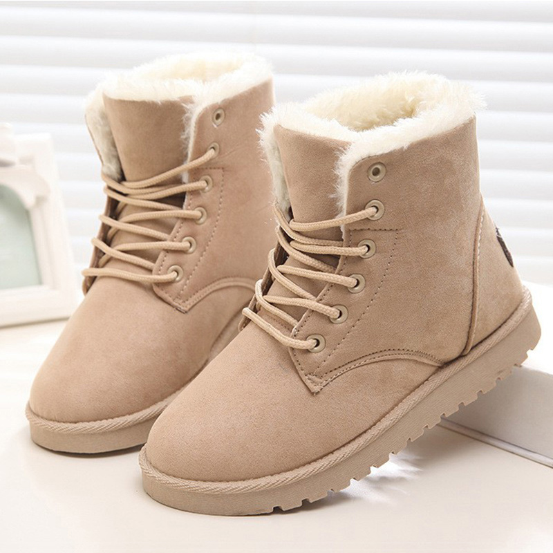 KUIDFAR Warm Winter Fur Ankle Boots Women Shoes Lace Up