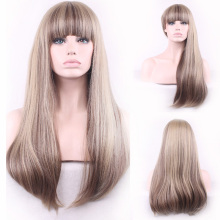 Heat Resistant Wig Natural Long Straight Wig Neat Bang Synthetic Fiber