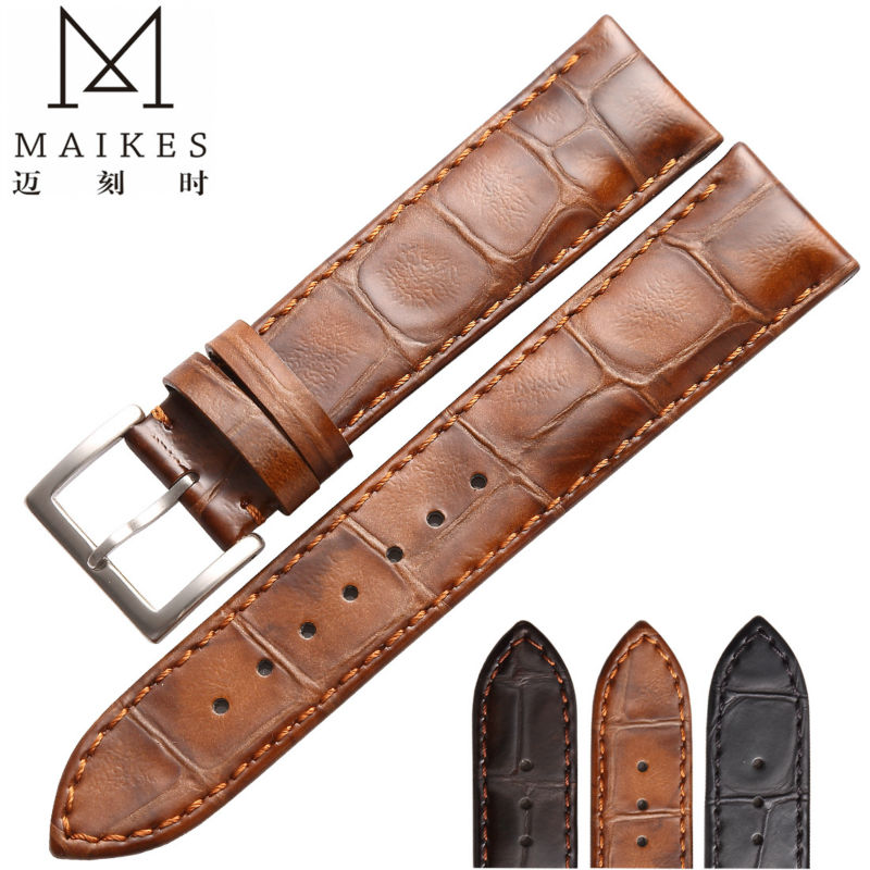 MAIKES New Arrival Genuine Leather watch men strap 18mm 19mm 20mm 22mm For High Quality Watch Band women top fashion new arrival soft durable genuine cowhide leather men women watch strap 18mm 20mm 22mm rich color watchband