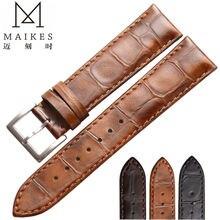 Maikes新しい到着本革時計男性ストラップ18ミリメートル19ミリメートル20ミリメートル22ミリメートル用高品質腕時計バンド女性