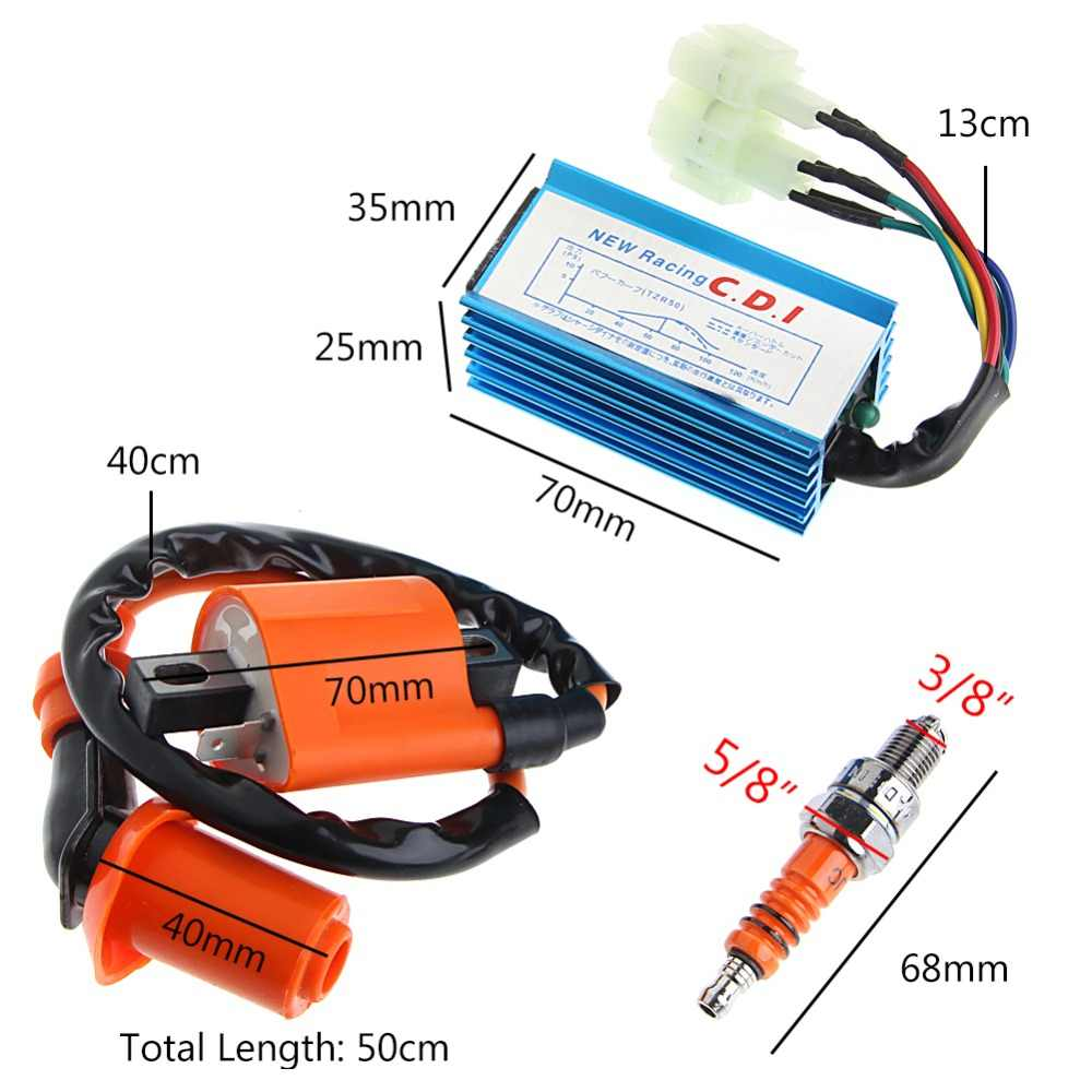 Free delivery ATV Racing Ignition Coil Spark Plug CDI For Gy6 Scooter Go  Kart 150cc 125cc 50cc Drop shipping new