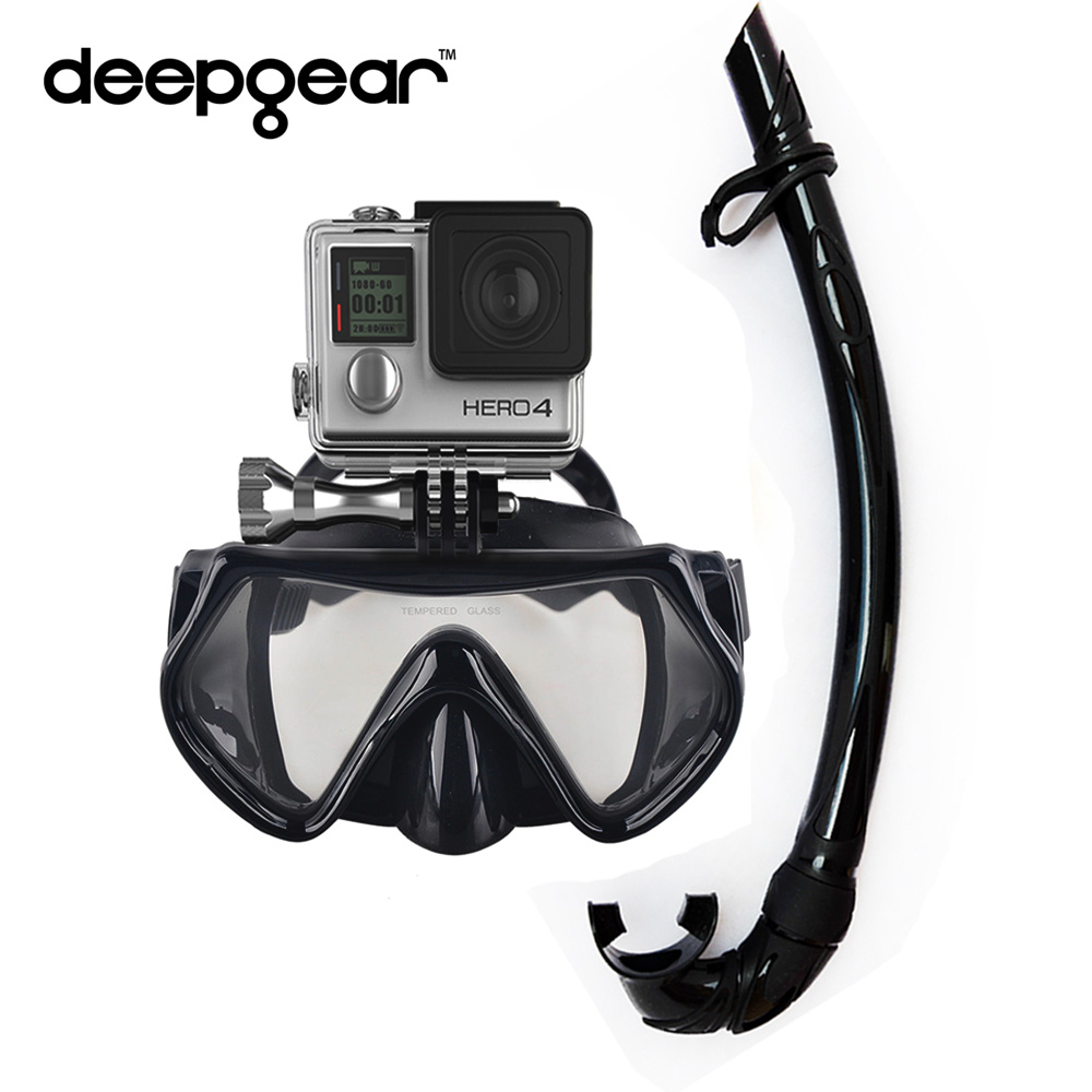 DEEPGEAR camera diving set Black silicone scuba diving mask Xiaomi Mount Mask Flexiable silicone snorkel Adult Gopro camera mask whale diving silicone mask snorkel glasses set