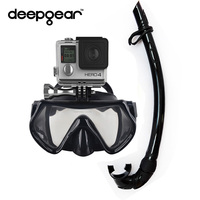 DEEPGEAR camera diving set Black silicone scuba diving mask Xiaomi Mount Mask Flexiable silicone snorkel Adult Gopro camera mask