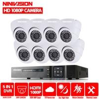 NINIVISION дома HD 1080 P HDMI 8CH 1080 P безопасности AHD DVR комплект видеонаблюдения AHD 8 канальный Купол CCTV Наборы безопасности Камера Системы 2 ТБ HDD