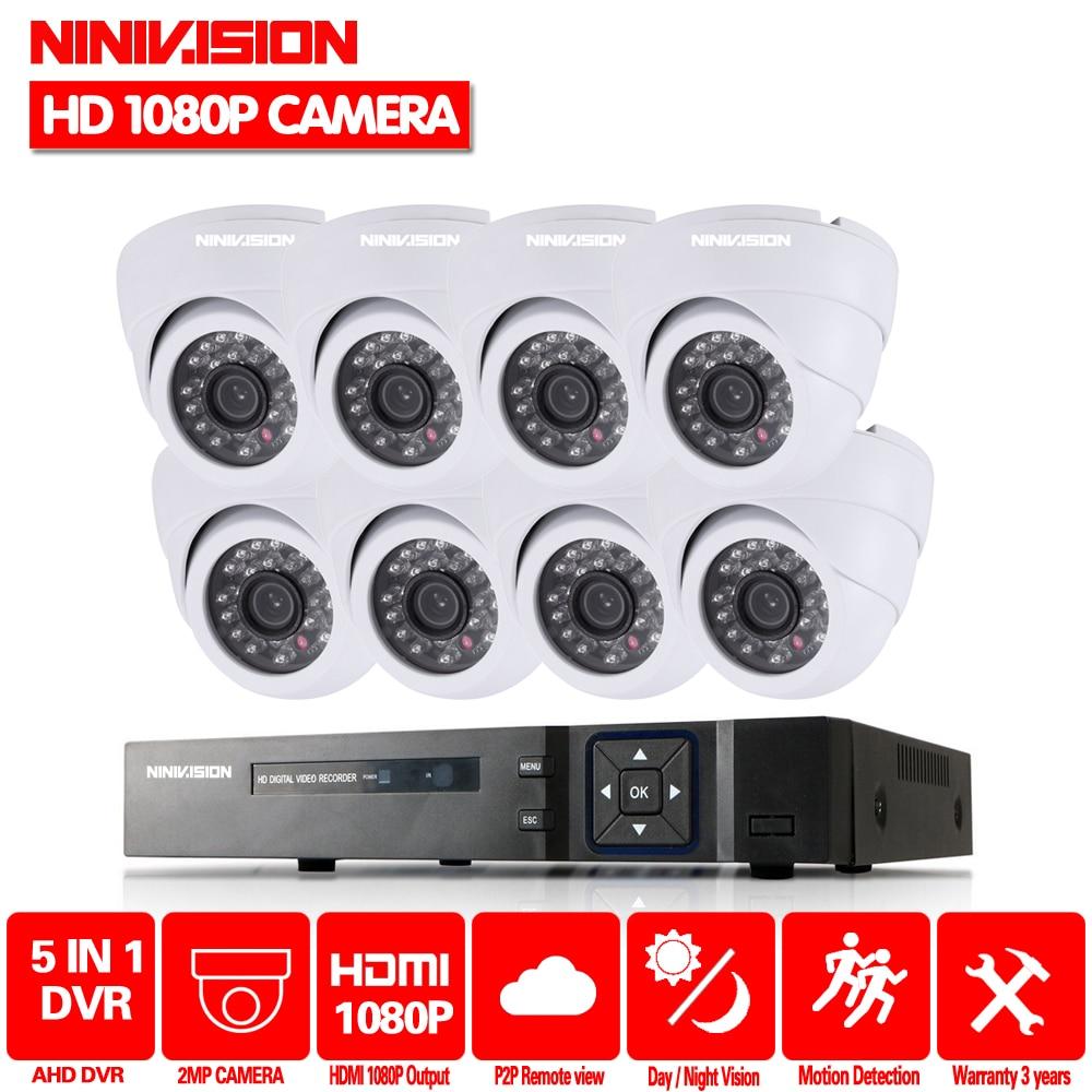 цена на NINIVISION Home HD 1080P HDMI 8CH 1080P Security AHD DVR CCTV Kit AHD 8 Channel Dome CCTV Kits Security Camera System 2TB HDD