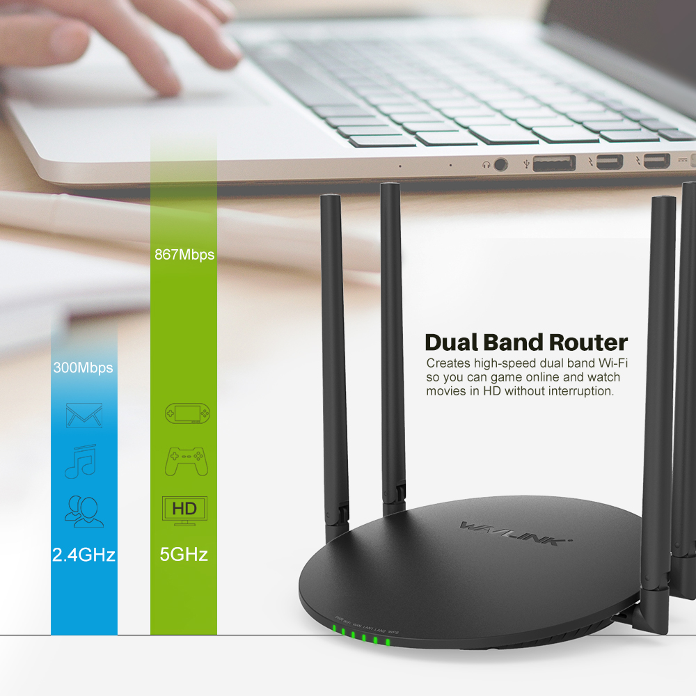 Wavlink 1200Mbps Dual Band Wifi Router Smart Wireless WI-FI Router USB Port 2.4G/5G AC1200 4x5dBi External Antennas App Control порт вах h3c волшебники h3c волшебное r200 версия 1200m gigabit dual band wireless router gigabit fiber частный домашний маршрутизатор wi fi