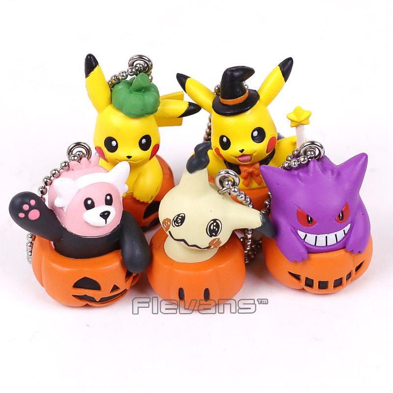 Cartoon Cute Pikachu Gengar Mimikyu Halloween Pumpkin Mini PVC Figures Toys with Keychains 5pcs/set 4cm patrulla canina with shield brinquedos 6pcs set 6cm patrulha canina patrol puppy dog pvc action figures juguetes kids hot toys