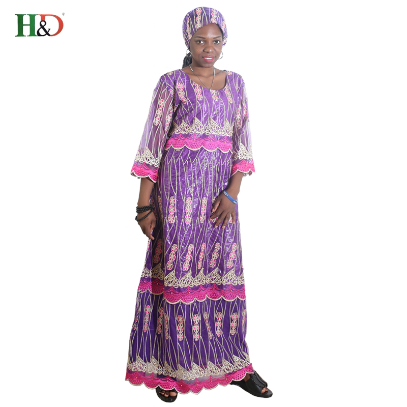 H & D africa stil kläder riche bazin afrikanska kvinnor spets outfit - Nationella kläder - Foto 1