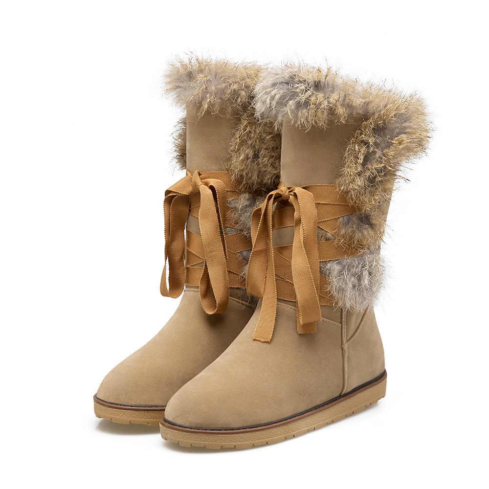 SWYIVY ארנב פרווה גבוהה גבוה שלג מגפי אישה דירות 2018 החורף חדש נקבה Velver שלג נעלי לשרוך חם פרווה שלג מגפי 34 43