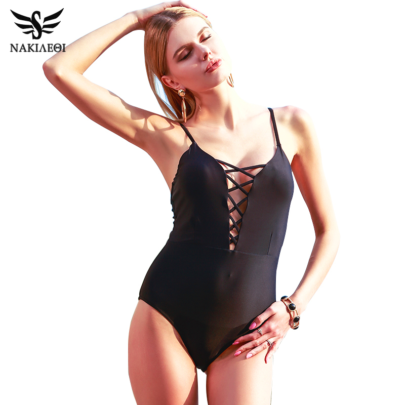 NAKIAEOI One Piece Swimsuit 2017 Sexy Swimwear Women Bodysuit Bathing Suit Vintage Beach Wear Print Bandage Monokini Swimsuit XL sexy bodysuit 2017 deep v neck one piece swimsuit monokini bandage swimwear women white beach bathing suit biquini black vintage