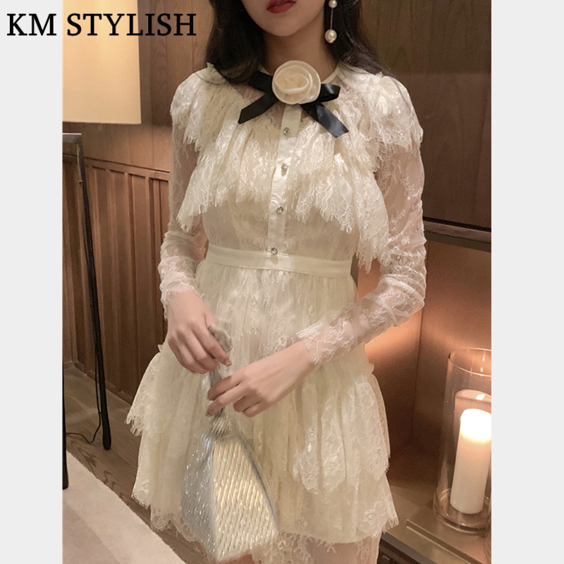 2019 Winter New Round Neck Long Sleeve Bow Appliques Eyelash Lace Flower High Waist Lady Tutu Dress