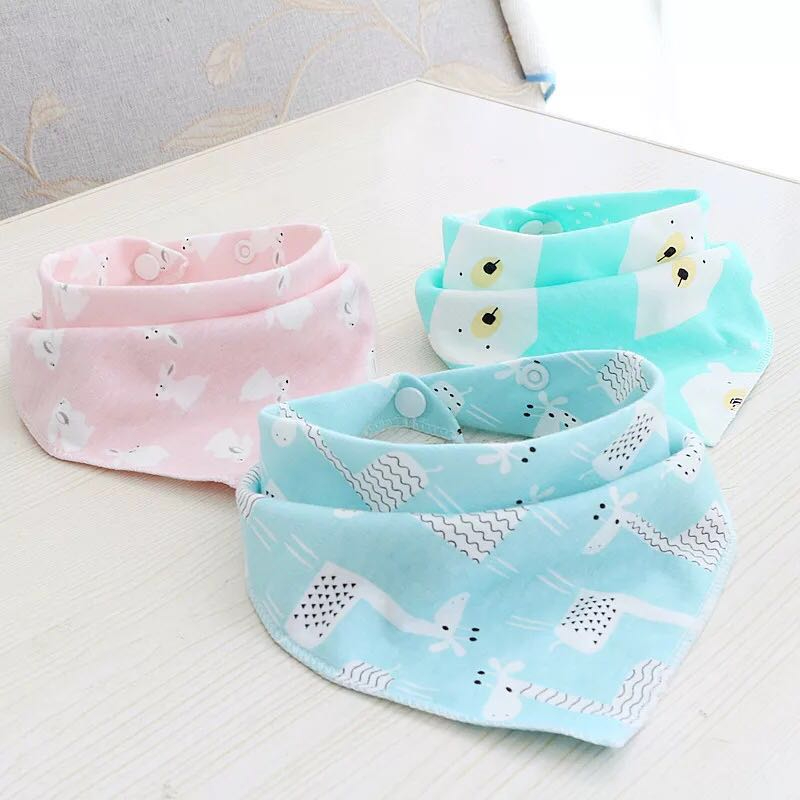 6PCS/SET Baby Bibs For Boy&Girl bandana bib Burp Cloth Print animal Triangle Cotton Baby Scarf Meal CollarBurp baby Accessories