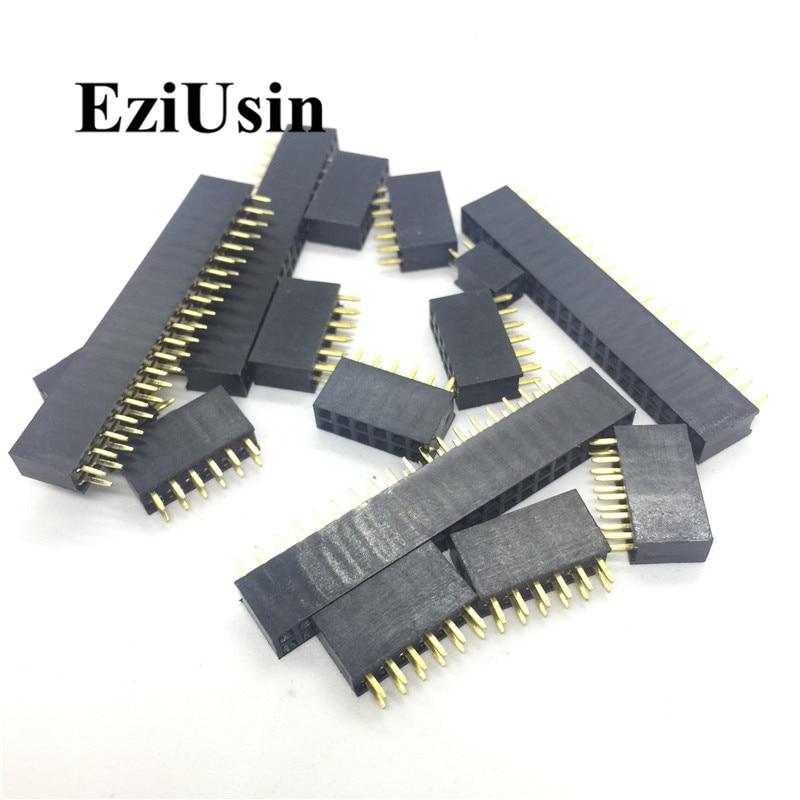 2.54mm Double Row Female 2~40P Breakaway PCB Board Pin Header Socket Connector Pinheader 2*2/3/4/6/10/12/16/20/40Pin For Arduino
