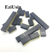 цена на 2.54mm Double Row Female 2~40P Breakaway PCB Board Pin Header socket Connector Pinheader 2*2/3/4/6/10/12/16/20/40Pin For Arduino