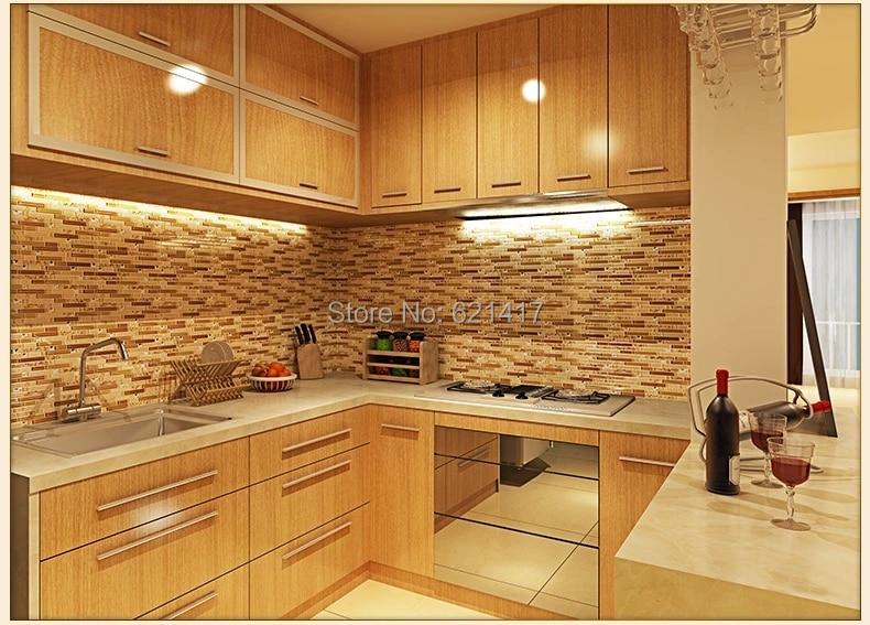 Beige kristal kaca, Strip shell, Ubin mosaik, Hmgm1110 backsplash - Dekorasi rumah - Foto 4