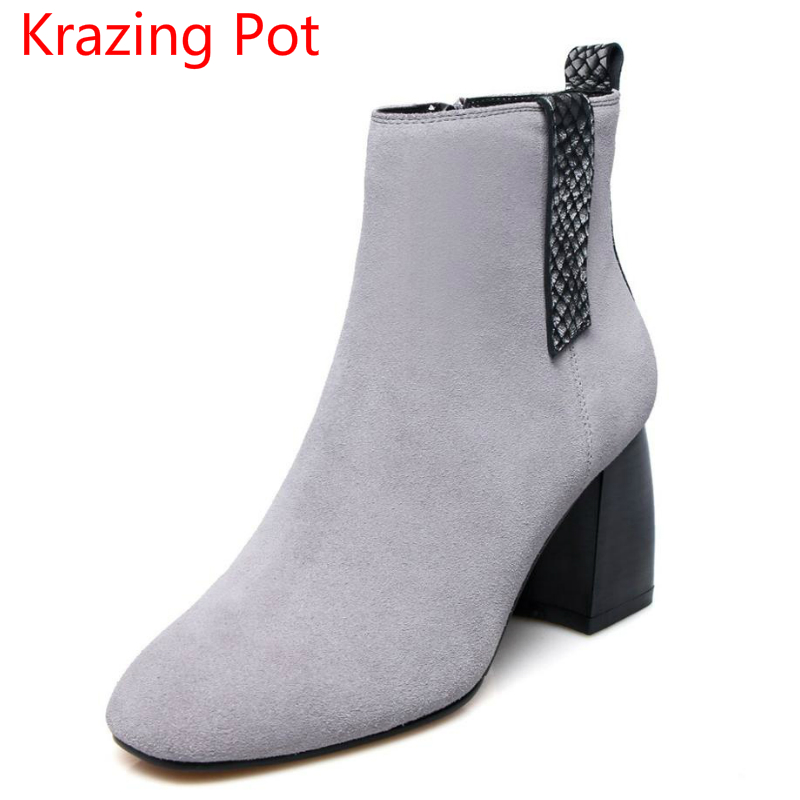2018 Genuine Leather Winter Shoes Mixed Colors Square Toe Thick Heel Fashion Nude Boots Superstar Party Women Ankle Boots L7f3 fashion square toe lace up genuine leather solid nude women ankle boots thick heel brand women shoes causal motorcycles boot l74