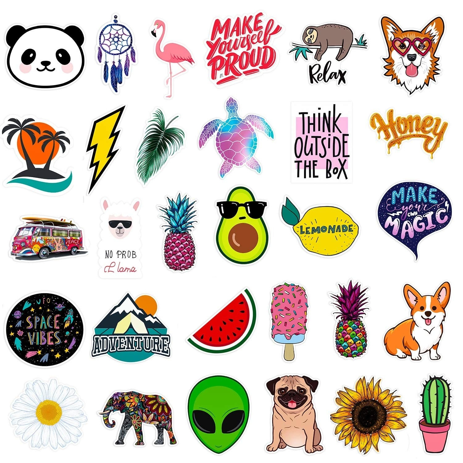 1e6f9a1e3f182 For Stickers Water Bottles Big 30-Pack | Cute,Waterproof,Aesthetic,Trendy  Stickers Teens,Girls | Perfect Waterbottle,Laptop