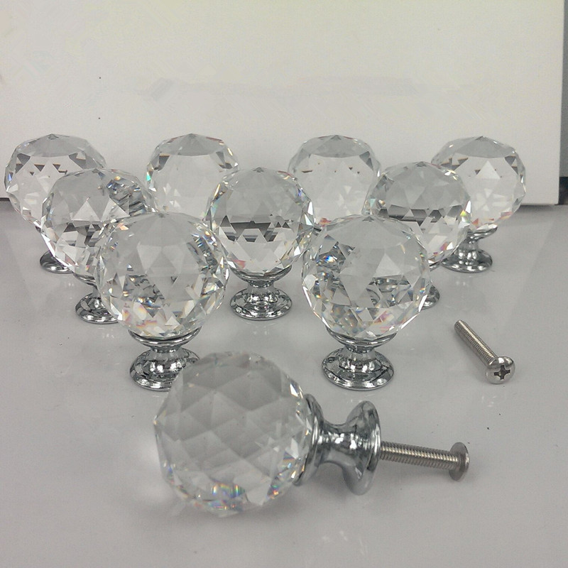 Zinc Alloy Crystal 30/40mm Cabinet Drawer Dresser Door Pulls Knobs Handles