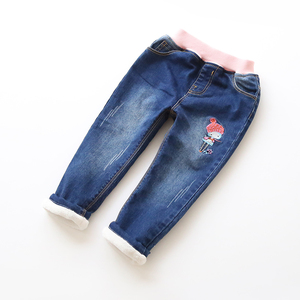 Image 3 - New Fashion Girls Autumn Winter Thicken Jeans Baby Embroidery Wam Denim Jeans Kids Elastic Waist Winter Trousers Warm Pants