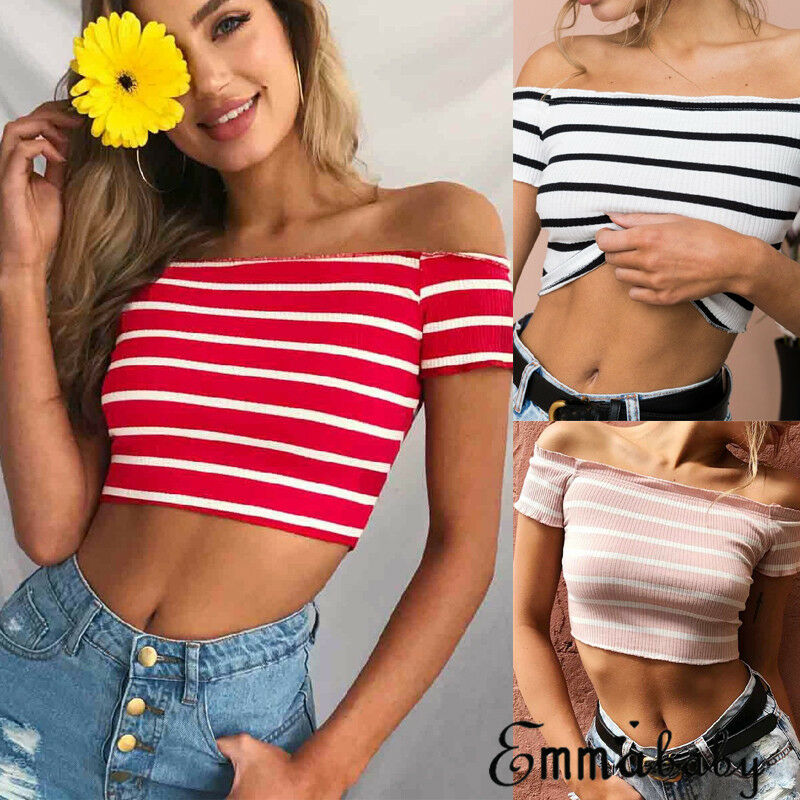 Sexy Women Summer Short Sleeve Off Shoulder T Shirts Crops Top Female Ladies Sexy Slash Neck Stripe Slim Short Tops T Shirt