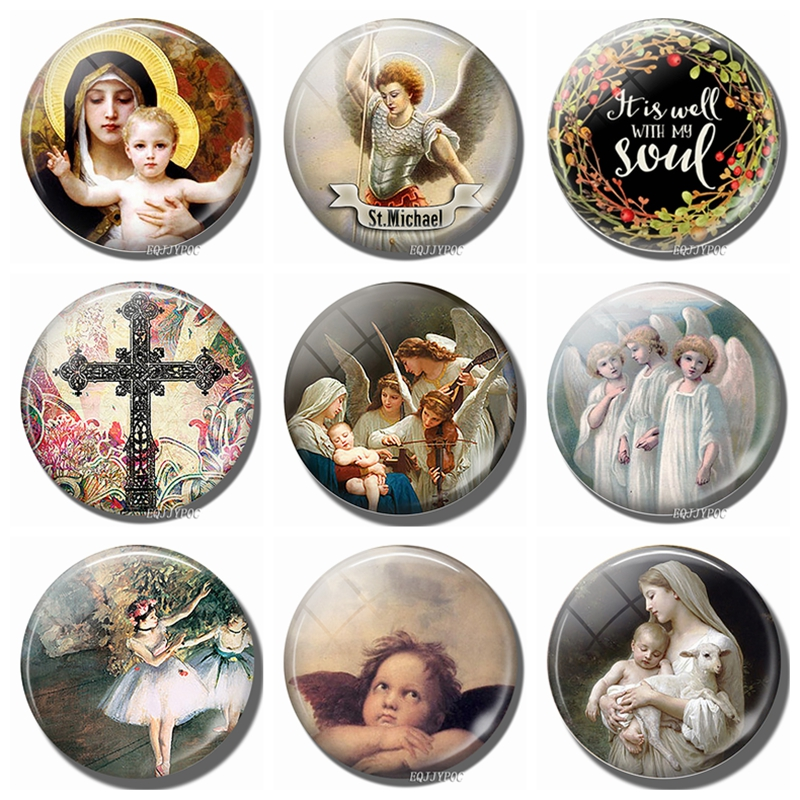 Virgin and The Angels Art 30 MM Fridge Magnet Glass Cabochon Mary Refrigerator Sticker Angel Note Holder Home Accessories