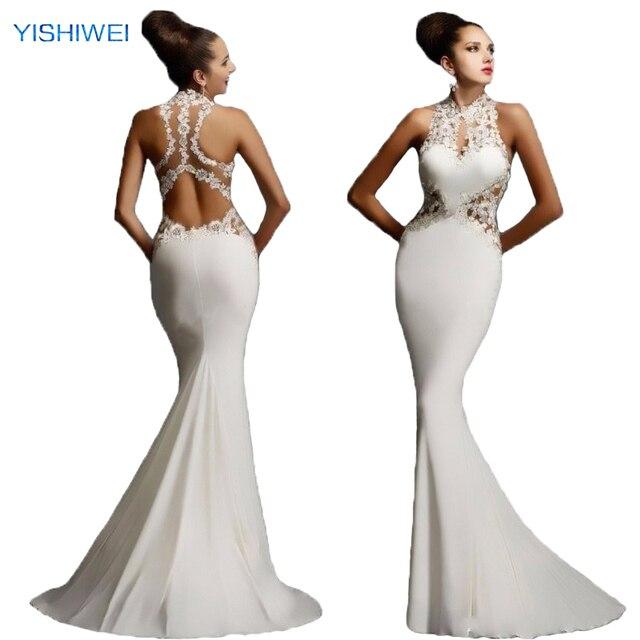 vestido de gasa en forma de corazón blanco halter de encaje apliques