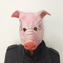 New Silicone Rubber Costume for Adults Funny Latex Pig Full Face Masks Cute Animal Head Halloween Masquerade Party Cosplay Mask